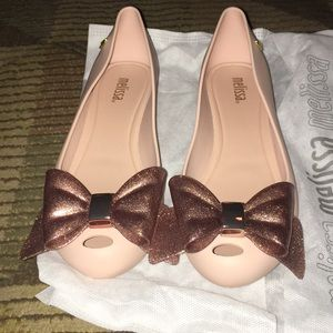 nwt melissa pink shoes with glitter bow size 7